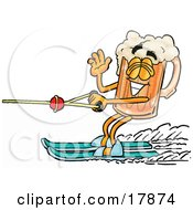 Clipart Picture Of A Beer Mug Mascot Cartoon Character Waving While Passing By On Water Skis
