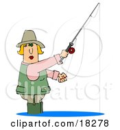 Clipart Illustration Of A Blond White Lady Wading In Water And Fishing by djart