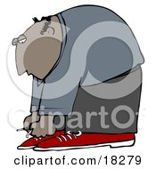 Bald Hispanic Man Bending Over To Tie His Shoe Laces