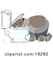 Clipart Illustration Of A Sick Black Man Resting His Head On The Toilet Bowl After Puking