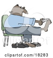 Bald Hispanic Man Sitting In A Chair And Clipping His Toe Nails