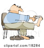 Bald White Man Sitting In A Chair And Clipping His Toe Nails