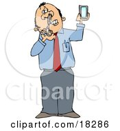Clipart Illustration Of A White Businessman Holding A Mirror And Trimming His Nose Hairs