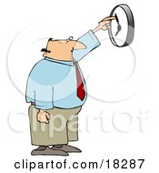 Clipart Illustration Of A White Businessman Anxious To End The Work Day Moving The Hands Of A Wall Clock