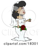 Clipart Illustration Of A Stunning Latina Bride In Her Wedding Dress And Veil Holding A Bouquet Of Roses And Showing Off The Rock Of A Diamond Ring On Her Finger by Dennis Cox
