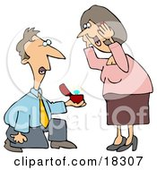 Clipart Illustration Of A Sweet White Man Kneeling Before A Happy Woman While Popping The Question And Holding Out A Diamond Ring