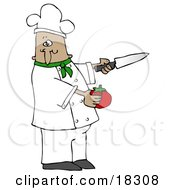 Clipart Illustration Of A French Or Latin Male Chef In A Green Collared Chefs Jacket And White Hat Preparing To Slice A Tomato While Cooking In A Kitchen