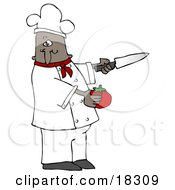 Clipart Illustration Of A Black Male Chef In A Red Collared Chefs Jacket And White Hat Preparing To Slice A Tomato While Cooking In A Kitchen