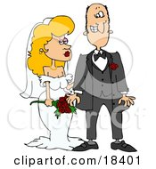 Clipart Illustration Of A Blond White Bride In Her Wedding Dress Standing By The Groom