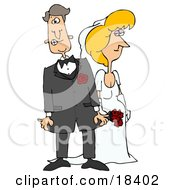 Blond White Bride In Her Dress Standing Beside Her Nervous Groom