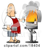 Confused White Man Holding A Salt Shaker And Watching As The Flames Get High On His Bbq Grill