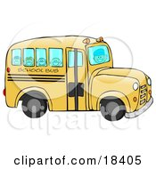 Friendly Bus Driver Driving Happy School Children To School On A Yellow School Bus
