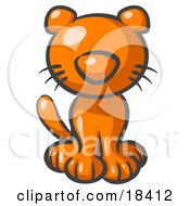 Clipart Illustration Of A Cute Orange Kitty Cat Looking Curiously At The Viewer