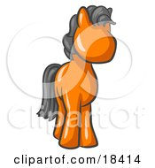 Clipart Illustration Of A Cute Orange Pony Horse Looking Out At The Viewer