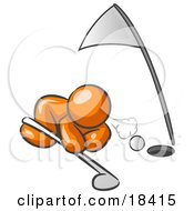 Clipart Illustration Of An Orange Man Down On The Ground Trying To Blow A Golf Ball Into The Hole