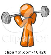 Orange Man Lifting A Barbell While Strength Training