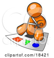 Orange Man Holding A Pair Of Scissors And Sitting On A Large Poster Board With Colorful Shapes