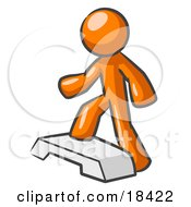 Clipart Illustration Of An Orange Man Doing Step Ups On An Aerobics Platform While Exercising