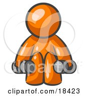 Clipart Illustration Of An Orange Man Lifting Dumbbells While Strength Training