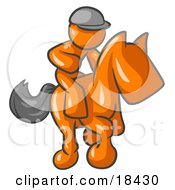 Clipart Illustration Of An Orange Man A Jockey Riding On A Race Horse And Racing In A Derby