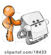 Clipart Illustration Of An Orange Businessman Standing Beside A Rotary Card File With Blank Index Cards