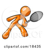 Clipart Illustration Of An Orange Woman Preparing To Hit A Tennis Ball With A Racquet