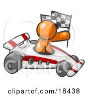 Clipart Illustration Of An Orange Man Driving A Fast Race Car Past Flags While Racing