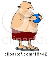 Clipart Illustration Of A Hairy Chubby White Man In Red Swimming Trunks Holding A Blue Ball And Playing At The Beach