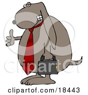 Clipart Illustration Of A Cool Dog Wearing A Red Business Tie And Carrying A Briefcase
