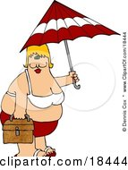 Clipart Illustration Of A Chubby White Woman In A Red And White Bikini Carrying A Beach Umbrella And Picnic Basket At The Beach
