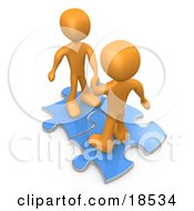 Poster, Art Print Of Two Orange People On Blue Puzzle Pieces Engaging In A Handshake Upon A Deal Symbolizing Link Exchange And Teamwork