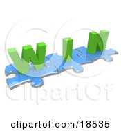 Clipart Illustration Of Three Connected Blue Puzzle Pieces With The Word Win In Green Lettering