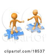 Clipart Illustration Of Two Orange People On Blue Puzzle Pieces Reaching Out For Eachother To Connect Symbolizing A Connection Link Exchange And Teamwork