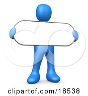 Clipart Illustration Of A Blue Person Holding A Blank White Oval Sign