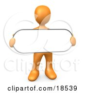 Clipart Illustration Of An Orange Person Holding A Blank White Oval Sign
