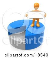 Clipart Illustration Of An Orange Person Standing On Top Of A Blue And Gray Pie Chart And Holding A Blank Oval Sign