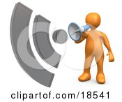 Clipart Illustration Of An Orange Person Holding And Speaking Through A Megaphone With Sound Waves Resembing An RSS Symbol