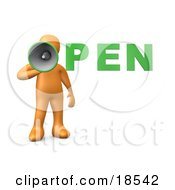 Clipart Illustration Of An Orange Person Holding A Megaphone With The Word OPEN