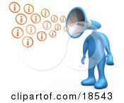 Clipart Illustration Of A Blue Person With A Megaphone Head Blowing Out Information Icons