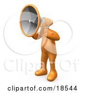 Clipart Illustration Of An Orange Man With A Megaphone As A Head Symbolizing Announcements Or Someone Trying To Make A Stand