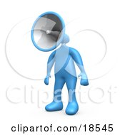 Blue Man With A Megaphone As A Head Symbolizing Announcements Or Someone Trying To Make A Stand