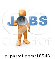 Clipart Illustration Of An Orange Person Speaking Through A Megaphone With The Word Jobs Recruiting People For Occupations by 3poD