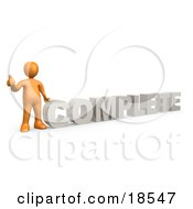 Clipart Illustration Of An Orange Signaling The Thumbs Up And Standing Beside The Word COMPLETE