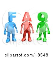 Clipart Illustration Of Three Colorful People Figures One Blue One Red And One Green With Heads In The Shape Of Letters Reading FAQ