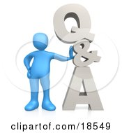 Clipart Illustration Of A Blue Person Leaning Against QA Which Could Be Used As An Icon To Direct Web Customers To Questions And Answers