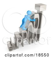 Clipart Illustration Of A Blue Person Climbing And Adjusting Letters Reading SUPPORT Symbolizing Customer Service