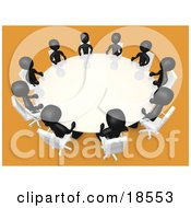 Clipart Illustration Of A Group Of Black People Seated And Holding A Meeting At A Round White Conference Table In A Room With Yellow Or Orange Carpet by 3poD