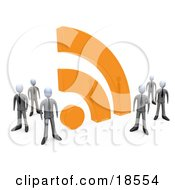 Group Of Businessmen In Matching Suits Standing By A Large Orange RSS Symbol by 3poD