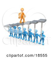 Orange Man Walking Upwards On Steps That Are Held By Blue Men Below Symbolizing Support Trust And Achievement