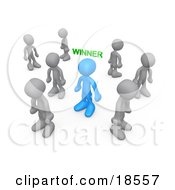 Clipart Illustration Of A Blue Person With The Word Winner Over Their Head Surrounded By Sad Losers